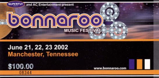 Bonnaroo 2002 Stub