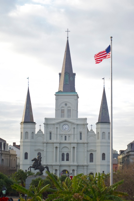 St Louis Cathedral and US flag