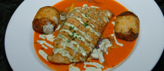 Palace Cafe's Andouille Crusted Sheepshead