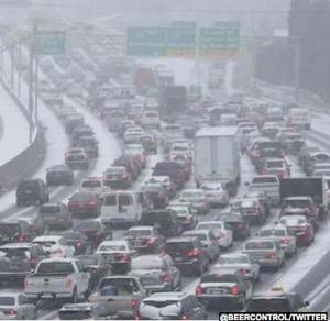 Snowy Atlanta gridlock