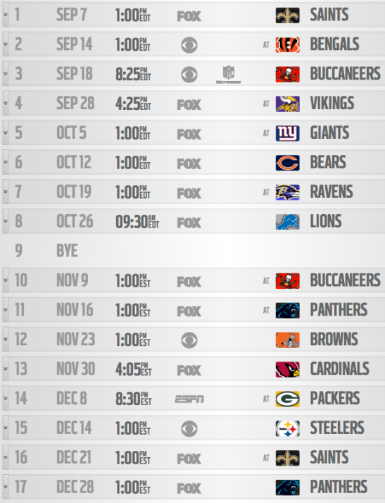 Atlanta Falcons 2014 Schedule